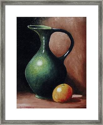 Framed Print featuring the painting Pitcher And Orange by Gene Gregory