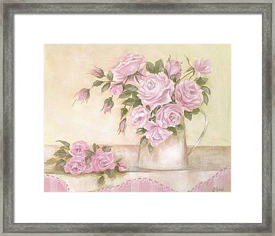 Pitcher Of  Pink Roses  Framed Print