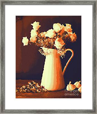 Pitcher Of Roses Framed Print