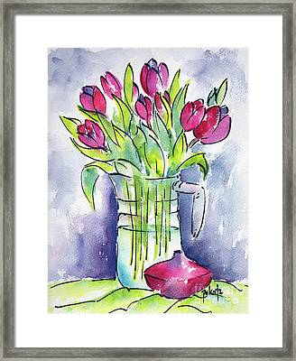 Framed Print featuring the painting Pitcher Of Tulips by Pat Katz