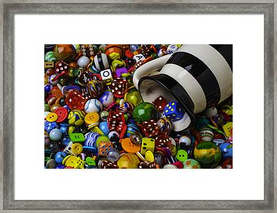 Pitcher With Dice And Marbles Framed Print by Garry Gay