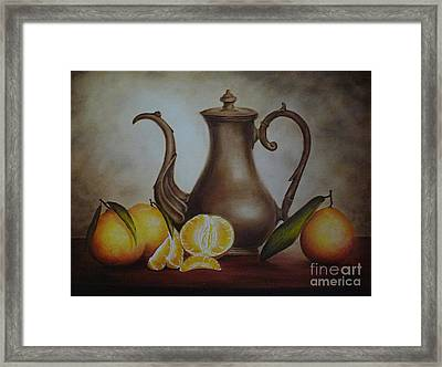 Pitcher With Oranges Framed Print
