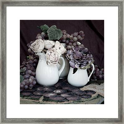 Framed Print featuring the photograph Pitchers And Tapestry by Sherry Hallemeier