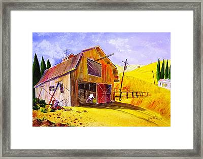 Pitching Hay Framed Print by Buster Dight