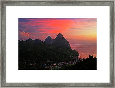 Pitons At Sunset- St Lucia Framed Print