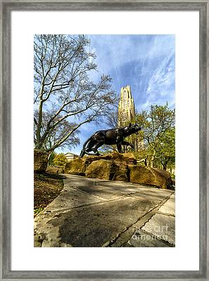 Pitt Panther Cathedral Of Learning Framed Print