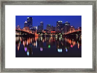 Pittsburgh Blue Hour Lights Framed Print by Frozen in Time Fine Art Photography