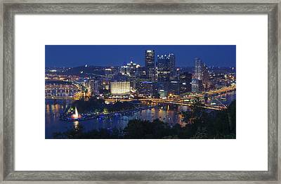 Pittsburgh Blue Hour Panoramic Framed Print by Frozen in Time Fine Art Photography