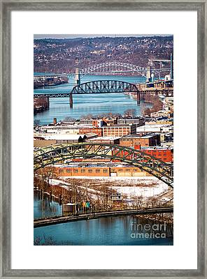 Pittsburgh Bridges Along The Ohio River Framed Print