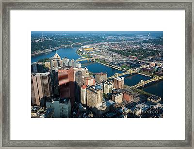 Pittsburgh Bridges And City Aerial View Framed Print