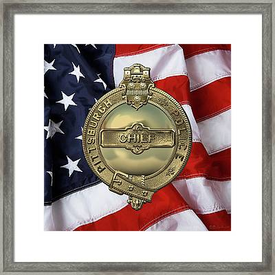 Pittsburgh Bureau Of Police -  P B P  Chief Badge Over American Flag Framed Print