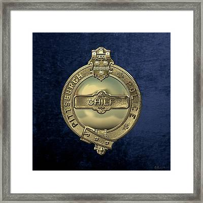 Pittsburgh Bureau Of Police -  P B P  Chief Badge Over Blue Velvet Framed Print
