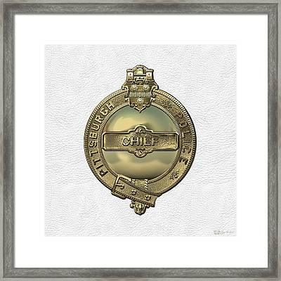 Pittsburgh Bureau Of Police -  P B P  Chief Badge Over White Leather  Framed Print