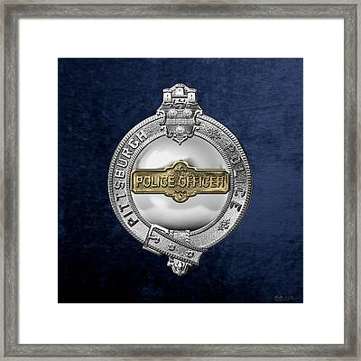 Pittsburgh Bureau Of Police -  P B P  Police Officer Badge Over Blue Velvet Framed Print