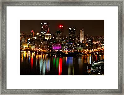 Pittsburgh Christmas At Night Framed Print by Jay Nodianos