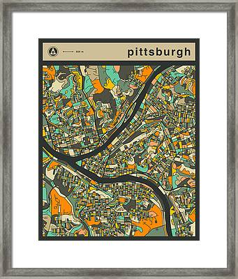 Pittsburgh City Map Framed Print by Jazzberry Blue