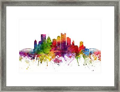 Pittsburgh Cityscape 06 Framed Print by Aged Pixel