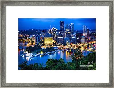 Pittsburgh Downtown Night Scenic View Framed Print by George Oze
