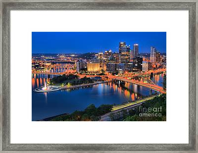 Pittsburgh Evening Glow Framed Print