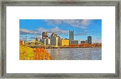 Framed Print featuring the digital art Pittsburgh From The Shore Of The Ohio River by Digital Photographic Arts
