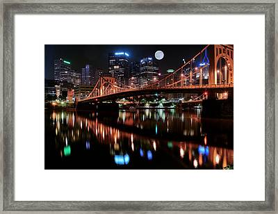 Pittsburgh Full Moon Framed Print by Frozen in Time Fine Art Photography