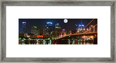 Pittsburgh Full Moon Panoramic Framed Print by Frozen in Time Fine Art Photography