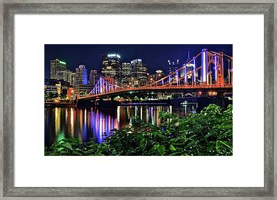 Pittsburgh Lights Bridge And Foliage Framed Print