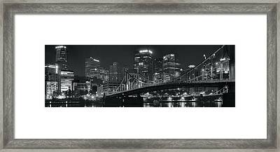 Pittsburgh Lights In Black And White Framed Print by Frozen in Time Fine Art Photography
