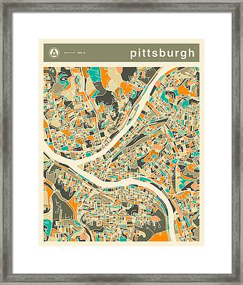 Pittsburgh Map 2 Framed Print by Jazzberry Blue