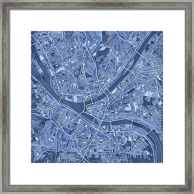 Pittsburgh Map Blue Framed Print