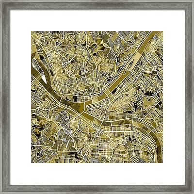 Pittsburgh Map Old Framed Print