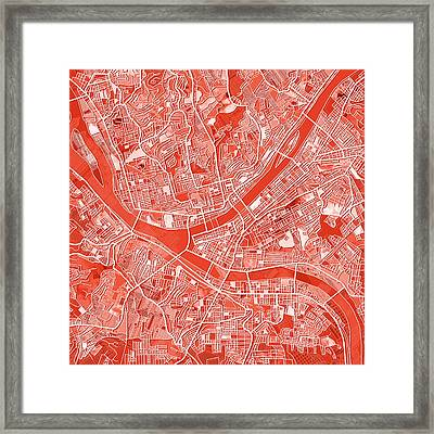 Pittsburgh Map Red Framed Print