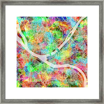 Pittsburgh Map Watercolor 3 Framed Print