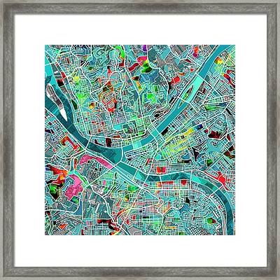 Pittsburgh Map Watercolor 4 Framed Print