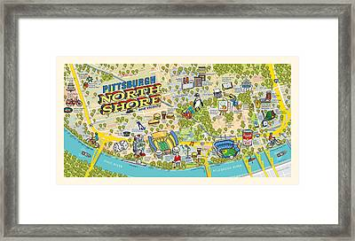 Pittsburgh North Shore Map Framed Print