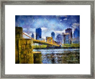 Pittsburgh North Shore Skyline Framed Print by Amy Cicconi