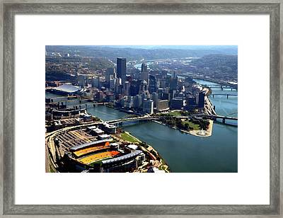 Pittsburgh, Pa - Heinz Field Digital Painting Aerial Framed Print by Mattucci Photography