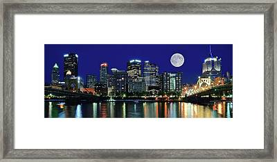 Pittsburgh Panoramic Night With Moon Framed Print by Frozen in Time Fine Art Photography