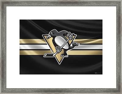 Pittsburgh Penguins - 3 D Badge Over Silk Flag Framed Print