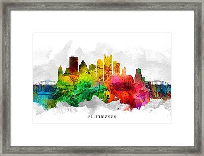 Pittsburgh Pennsylvania Cityscape 12 Framed Print by Aged Pixel