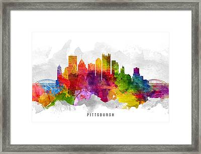 Pittsburgh Pennsylvania Cityscape 13 Framed Print by Aged Pixel