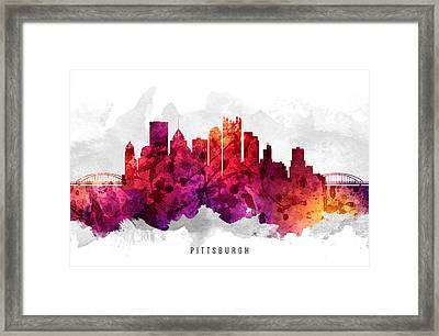 Pittsburgh Pennsylvania Cityscape 14 Framed Print by Aged Pixel