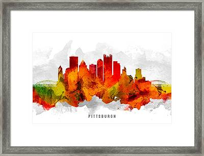 Pittsburgh Pennsylvania Cityscape 15 Framed Print by Aged Pixel
