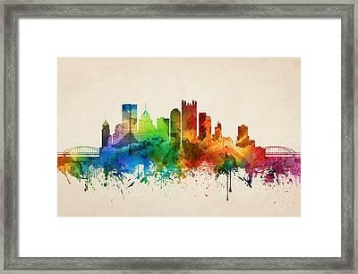 Pittsburgh Pennsylvania Skyline 05 Framed Print by Aged Pixel
