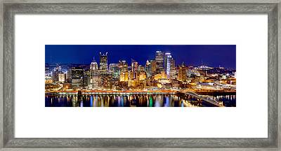 Pittsburgh Pennsylvania Skyline At Night Panorama Framed Print