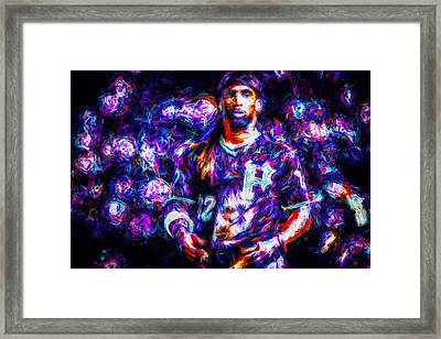 Pittsburgh Pirates Andrew Mccutchen Digitally Painted Purple Mix Framed Print by David Haskett