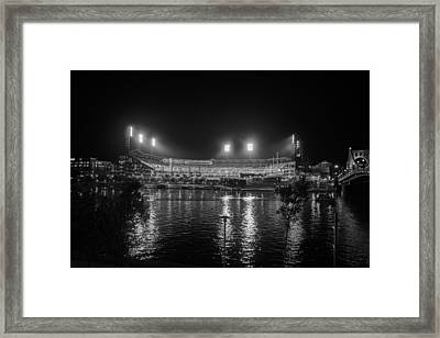 Pittsburgh Pirates Pnc Park Night Bw Framed Print by David Haskett