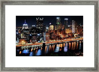 Pittsburgh Shinning Bright Framed Print by Frozen in Time Fine Art Photography