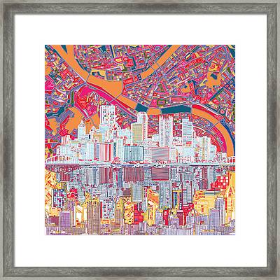 Pittsburgh Skyline Abstract 2 Framed Print