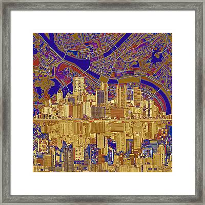 Pittsburgh Skyline Abstract 3 Framed Print by Bekim Art